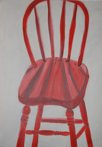 old red wooden chair